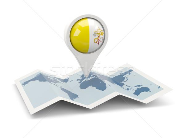 Foto stock: Pin · bandeira · Cidade · do · Vaticano · mapa · viajar · branco