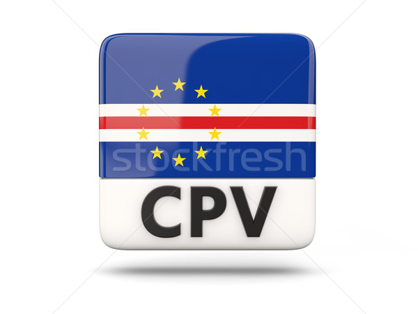 Stock photo: Square icon with flag of cape verde