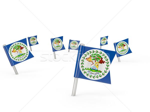 Tér zászló Belize izolált fehér vidék Stock fotó © MikhailMishchenko