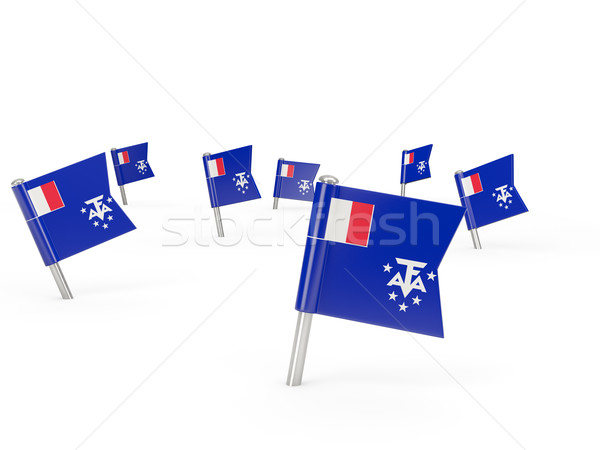 Square pins with flag of french southern territories Stock photo © MikhailMishchenko