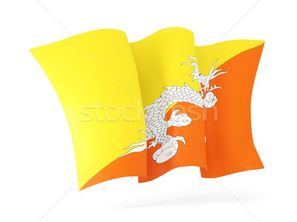 Foto stock: Bandeira · Butão · ilustração · 3d · isolado · branco