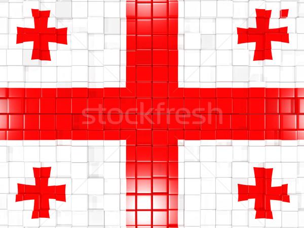 квадратный флаг Грузия 3d иллюстрации мозаика Сток-фото © MikhailMishchenko