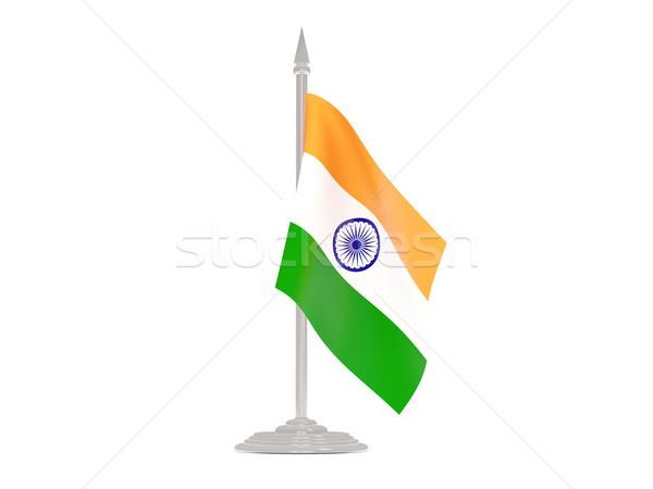 Bandera India asta de bandera 3d aislado blanco Foto stock © MikhailMishchenko
