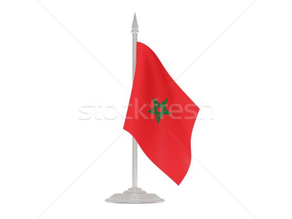 Bandeira Marrocos mastro de bandeira 3d render isolado branco Foto stock © MikhailMishchenko