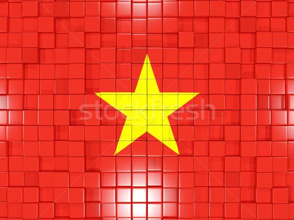 квадратный флаг Вьетнам 3d иллюстрации мозаика Сток-фото © MikhailMishchenko