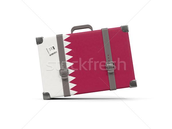 Luggage with flag of qatar. Suitcase isolated on white Stock photo © MikhailMishchenko