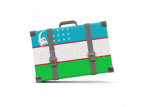 Luggage with flag of uzbekistan. Suitcase isolated on white Stock photo © MikhailMishchenko