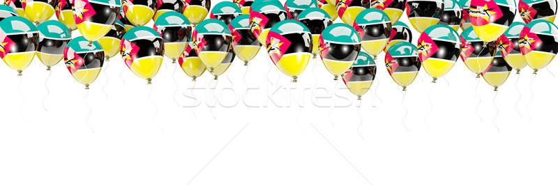 Balões quadro bandeira Moçambique isolado branco Foto stock © MikhailMishchenko