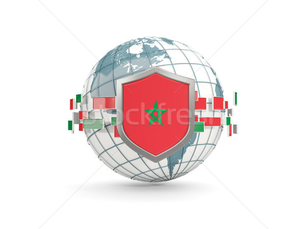 Globo escudo bandeira Marrocos isolado branco Foto stock © MikhailMishchenko