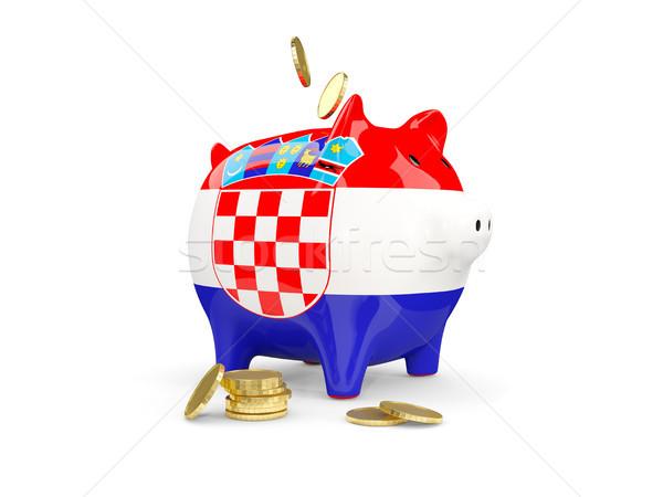 Yağ kumbara Hırvatistan para yalıtılmış beyaz Stok fotoğraf © MikhailMishchenko