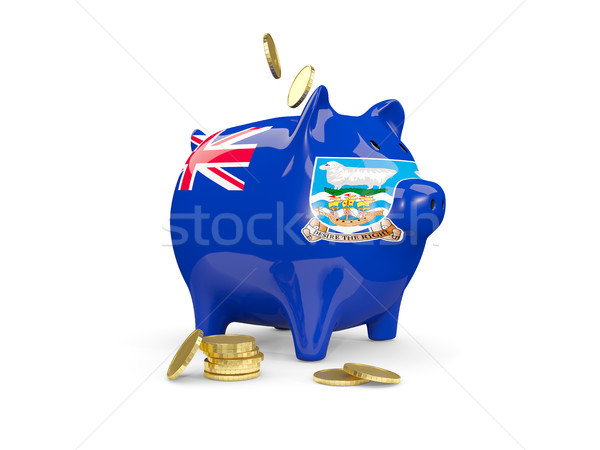 Fat piggy bank with fag of falkland islands Stock photo © MikhailMishchenko