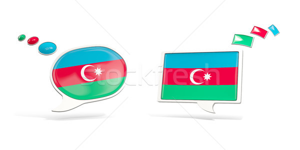 Dos chat iconos bandera Azerbaiyán cuadrados Foto stock © MikhailMishchenko
