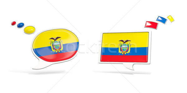 Iki sohbet simgeler bayrak Ekvador kare Stok fotoğraf © MikhailMishchenko