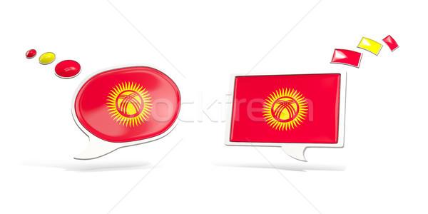 Twee chat iconen vlag Kirgizië vierkante Stockfoto © MikhailMishchenko