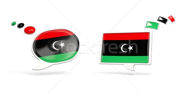 Dwa chat ikona banderą Libia placu Zdjęcia stock © MikhailMishchenko