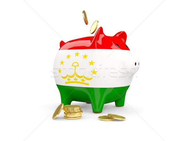 жира Piggy Bank Таджикистан деньги изолированный белый Сток-фото © MikhailMishchenko