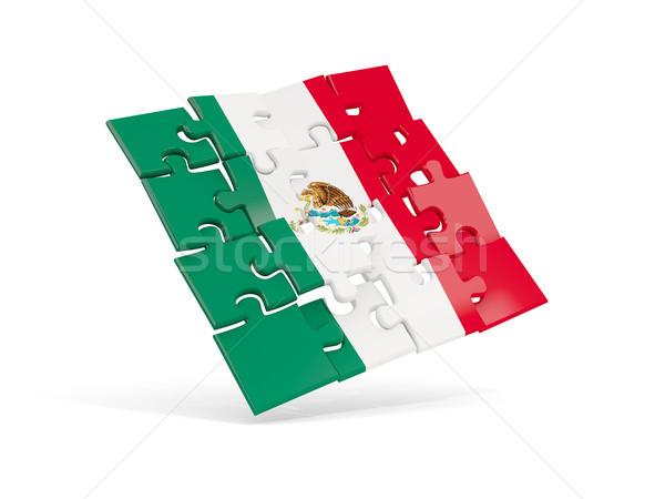 Puzzle flag of mexico isolated on white Stock photo © MikhailMishchenko