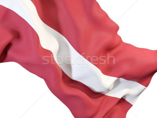 Bandera Letonia primer plano 3d viaje Foto stock © MikhailMishchenko