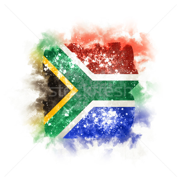 Vierkante grunge vlag South Africa 3d illustration retro Stockfoto © MikhailMishchenko