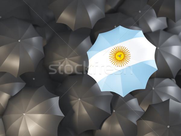 Esernyő zászló Argentína felső fekete esernyők Stock fotó © MikhailMishchenko
