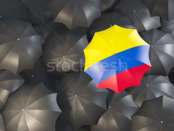 Paraplu vlag Colombia top zwarte parasols Stockfoto © MikhailMishchenko