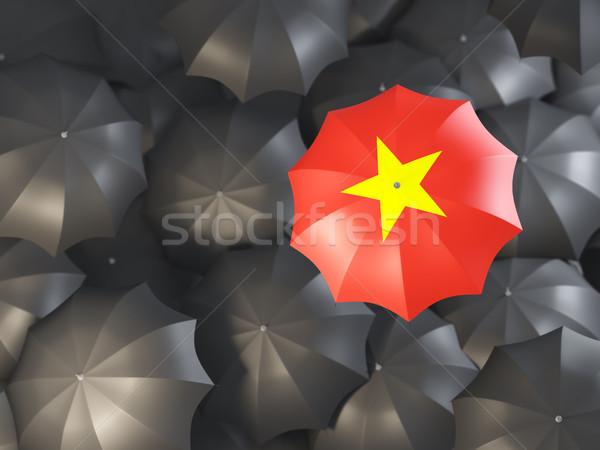 Parapluie pavillon Viêt-Nam haut noir parapluies Photo stock © MikhailMishchenko