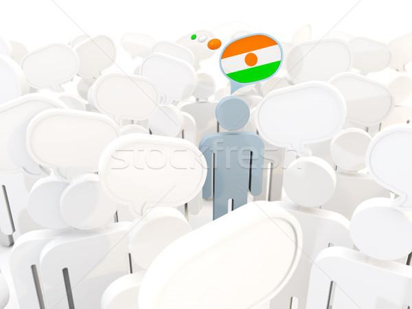 человека флаг Нигер толпа 3d иллюстрации знак Сток-фото © MikhailMishchenko