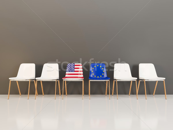 Chairs with flag of usa and EU Stock photo © MikhailMishchenko