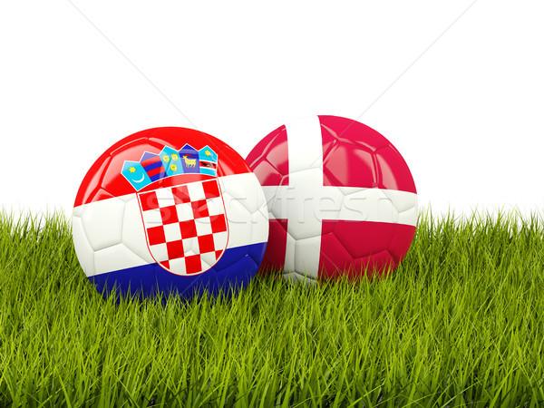 Croácia vs Dinamarca futebol bandeiras grama verde Foto stock © MikhailMishchenko