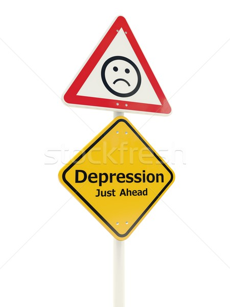 Depression Just Ahead road sign Stock photo © MikhailMishchenko