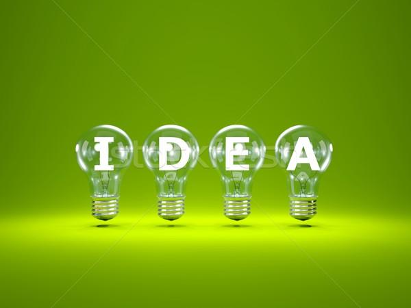 Stockfoto: Woord · idee · binnenkant · groene · technologie