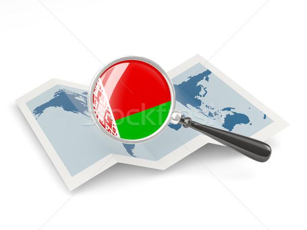 Ampliada bandera Bielorrusia mapa blanco Foto stock © MikhailMishchenko