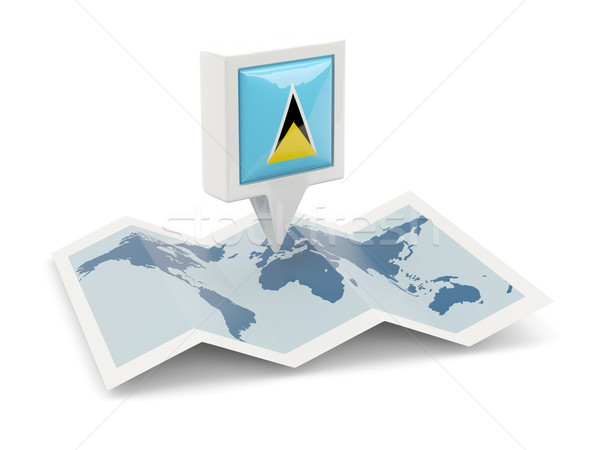Square pin with flag of saint lucia  on the map Stock photo © MikhailMishchenko