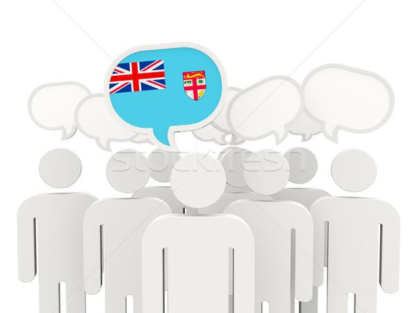 Emberek zászló Fidzsi-szigetek izolált fehér megbeszélés Stock fotó © MikhailMishchenko