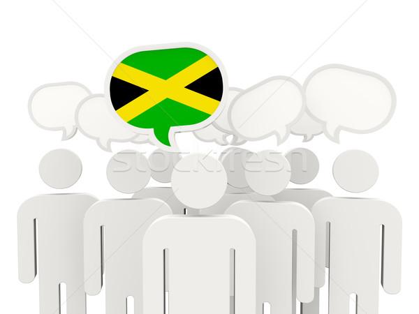 Insanlar bayrak Jamaika yalıtılmış beyaz toplantı Stok fotoğraf © MikhailMishchenko