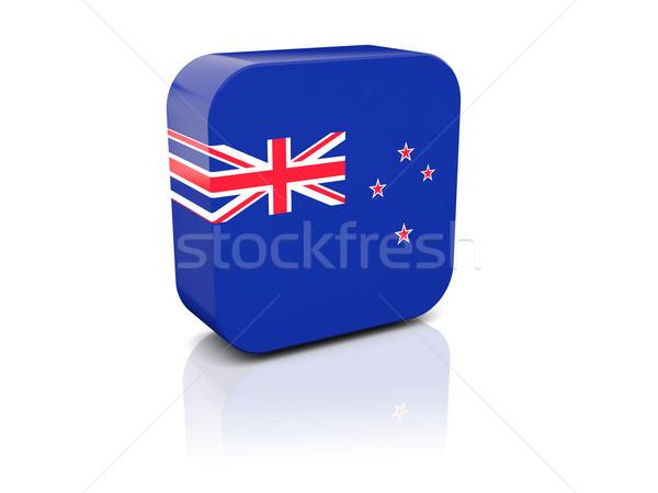 Stock fotó: Tér · ikon · zászló · Új-Zéland · tükröződés · fehér