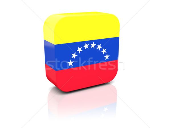Tér ikon zászló Venezuela tükröződés fehér Stock fotó © MikhailMishchenko