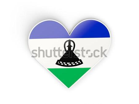 Coeur icône pavillon Lesotho isolé Photo stock © MikhailMishchenko