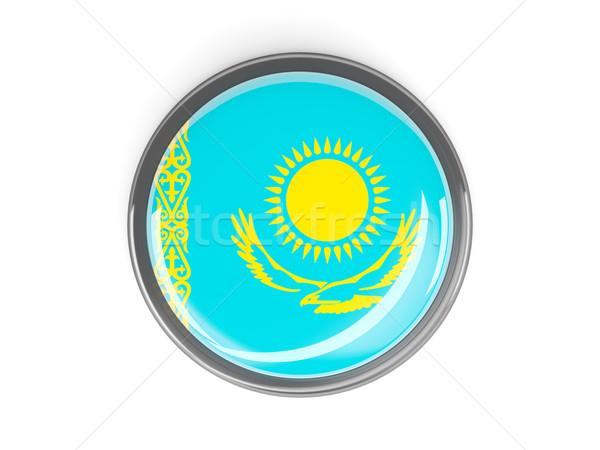 Botão bandeira Cazaquistão metal quadro viajar Foto stock © MikhailMishchenko
