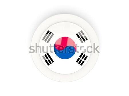 Round button with flag of south korea Stock photo © MikhailMishchenko