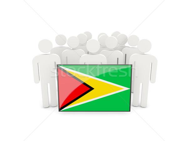 Emberek zászló Guyana izolált fehér tömeg Stock fotó © MikhailMishchenko