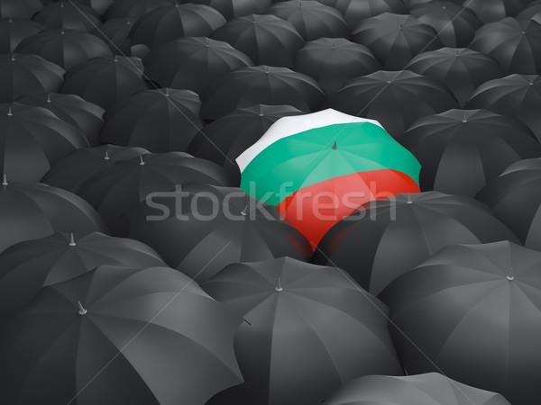 Parasol banderą Bułgaria czarny parasole deszcz Zdjęcia stock © MikhailMishchenko
