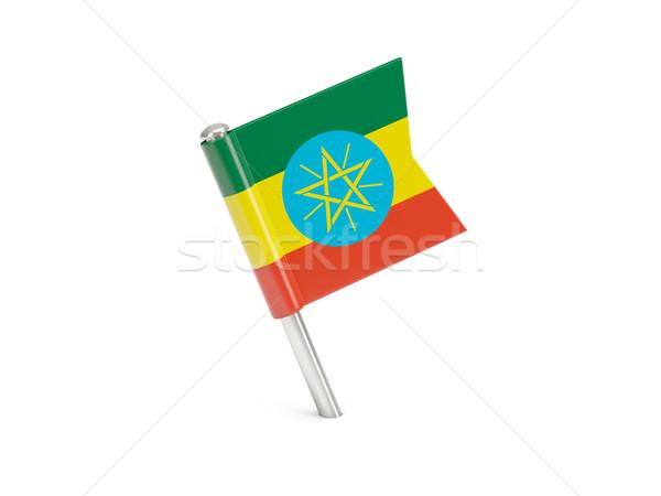 Banderą pin Etiopia odizolowany biały Zdjęcia stock © MikhailMishchenko