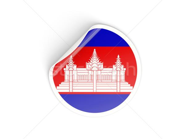 Adesivo bandeira Camboja isolado branco viajar Foto stock © MikhailMishchenko