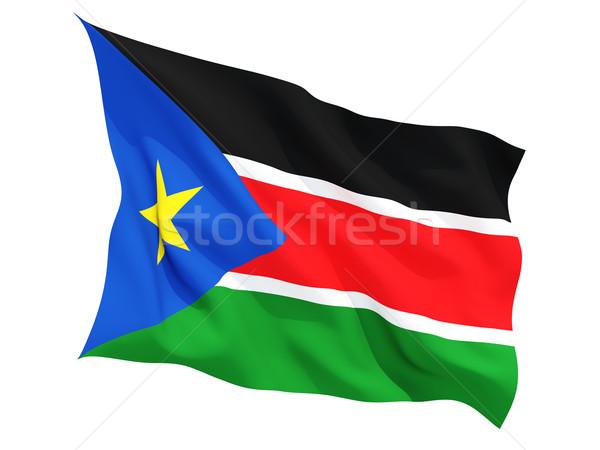 Integet zászló dél Szudán izolált fehér Stock fotó © MikhailMishchenko