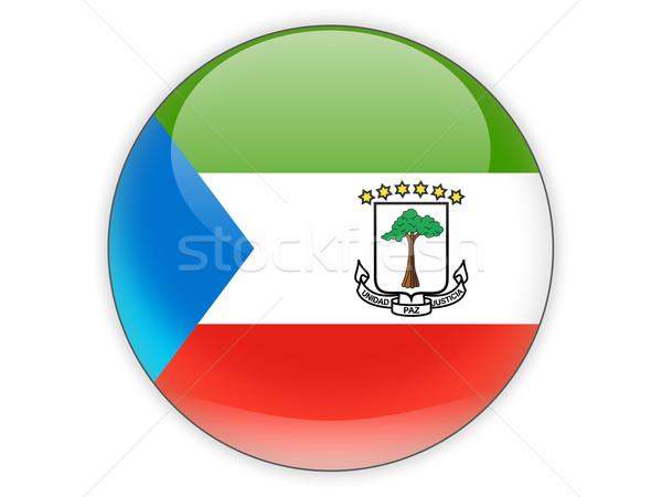 ícone bandeira Guiné Equatorial isolado branco viajar Foto stock © MikhailMishchenko