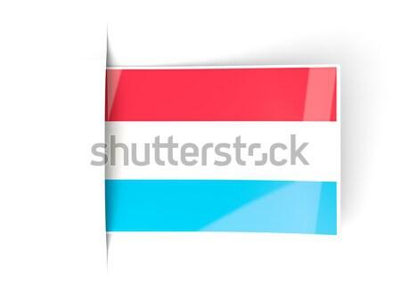 Vierkante label vlag Luxemburg geïsoleerd witte Stockfoto © MikhailMishchenko