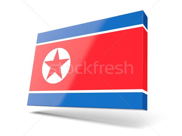 Square icon with flag of korea north Stock photo © MikhailMishchenko