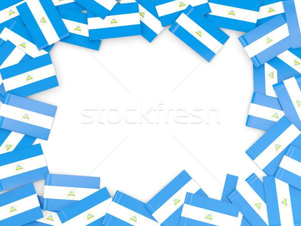 Quadro bandeira Nicarágua isolado branco Foto stock © MikhailMishchenko