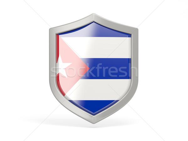 щит икона флаг Куба изолированный белый Сток-фото © MikhailMishchenko